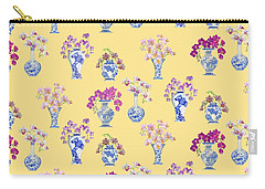 Oriental Vases With Orchids Carry-all Pouch by Kimberly McSparran