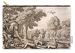 Otter Hunting By A River, Engraved Carry-all Pouch by Francis Barlow