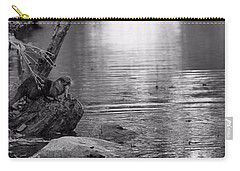 Otter's Catch In Black And White Carry-all Pouch by Dan Sproul