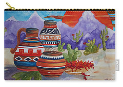 Painted Pots And Chili Peppers Carry-all Pouch by Ellen Levinson