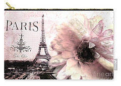 Paris Dreamy Eiffel Tower Montage - Paris Romantic Pink Sepia Eiffel Tower And Flower French Script Carry-all Pouch by Kathy Fornal