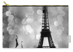Paris Eiffel Tower Surreal Black And White Photography - Eiffel Tower Bokeh Surreal Fantasy Night  Carry-all Pouch by Kathy Fornal