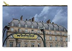 Paris Metropolitain Sign At The Paris Hotel Du Louvre Metropolitain Sign Art Noueveau Art Deco Carry-all Pouch by Kathy Fornal