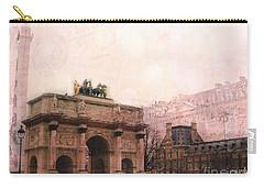 Paris Louvre Museum Arc De Triomphe Architecture Buildings - Watercolor Paris Landmarks Carry-all Pouch by Kathy Fornal