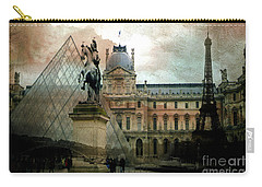 Paris Louvre Museum Pyramid Architecture - Eiffel Tower Photo Montage Of Paris Landmarks Carry-all Pouch by Kathy Fornal