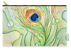 Peacock Feather Watercolor Carry-all Pouch by Olga Shvartsur