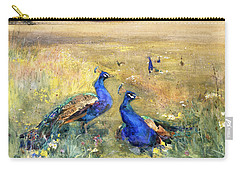 Peacocks In A Field Carry-all Pouch by Mildred Anne Butler