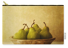 Pears In A Wooden Bowl Carry-all Pouch by Priska Wettstein