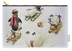 Penguins Sledging Carry-all Pouch by Kestutis Kasparavicius