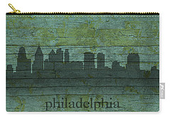 Philadelphia Pennsylvania Skyline Art On Distressed Wood Boards Carry-all Pouch by Design Turnpike