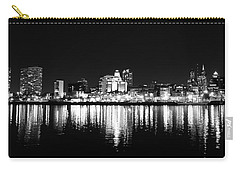 Philadelphia Skyline Panorama In Black And White Carry-all Pouch by Bill Cannon