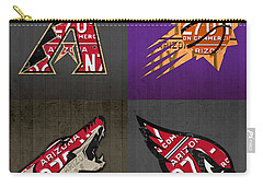 Phoenix Sports Fan Recycled Vintage Arizona License Plate Art Diamondbacks Suns Coyotes Cardinals Carry-all Pouch by Design Turnpike