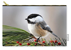 Pine Chickadee Carry-all Pouch by Christina Rollo