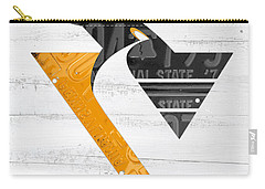 Pittsburgh Penguins Hockey Team Retro Logo Vintage Recycled Pennsylvania License Plate Art Carry-all Pouch by Design Turnpike