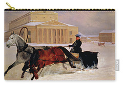 Pole Pair With A Trace Horse At The Bolshoi Theatre In Moscow Carry-all Pouch by Nikolai Egorevich Sverchkov