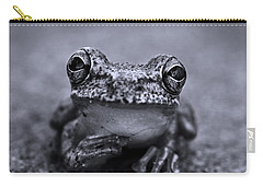Pondering Frog Bw Carry-all Pouch by Laura Fasulo