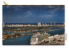 Port Of Miami Panoramic Carry-all Pouch by Susan Candelario