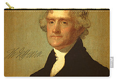 President Thomas Jefferson Portrait And Signature Carry-all Pouch by Design Turnpike