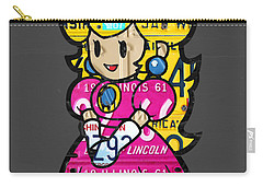 Princess Peach From Mario Brothers Nintendo Recycled License Plate Art Portrait Carry-all Pouch by Design Turnpike