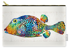 Puffer Fish Art - Puff Love - By Sharon Cummings Carry-all Pouch by Sharon Cummings