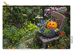 Pumpkin In Basket On Chair Carry-all Pouch by Garry Gay