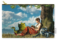 Reading About Dragons Carry-all Pouch by Daniel Eskridge