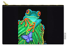 Red-eyed Tree Frog And Butterfly Carry-all Pouch by Nick Gustafson