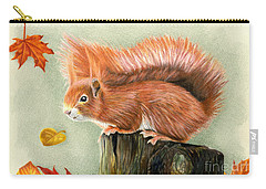 Red Squirrel In Autumn Carry-all Pouch by Sarah Batalka