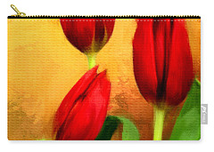 Red Tulips Triptych Section 2 Carry-all Pouch by Lourry Legarde