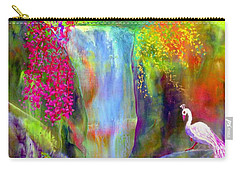 Waterfall And White Peacock, Redbud Falls Carry-all Pouch by Jane Small