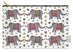 Repeat Print - Indian Elephant Carry-all Pouch by Susan Claire
