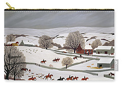 Riding In The Snow Carry-all Pouch by Vincent Haddelsey