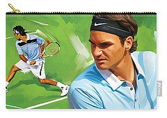 Roger Federer Artwork Carry-all Pouch by Sheraz A