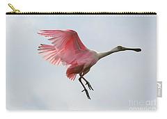 Roseate Spoonbill In Flight Carry-all Pouch by Carol Groenen