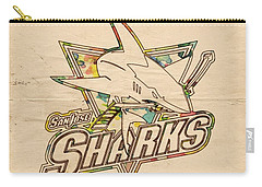 San Jose Sharks Vintage Poster Carry-all Pouch by Florian Rodarte