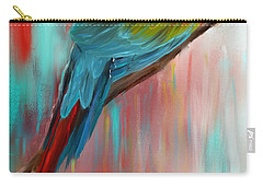 Scarlet- Red And Turquoise Art Carry-all Pouch by Lourry Legarde