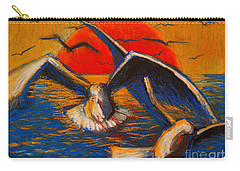 Seagulls At Sunset Carry-all Pouch by Mona Edulesco