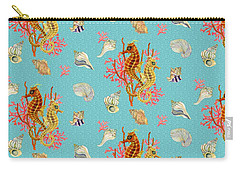 Seahorses Coral And Shells Carry-all Pouch by Kimberly McSparran