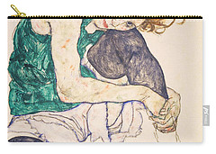 Seated Woman With Legs Drawn Up. Adele Herms Carry-all Pouch by Egon Schiele