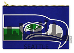 Seattle Seahawks On Seattle Skyline Carry-all Pouch by Dan Sproul