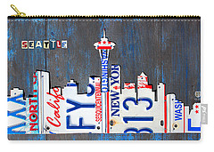 Seattle Washington Space Needle Skyline License Plate Art By Design Turnpike Carry-all Pouch by Design Turnpike
