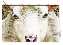 Sheep Art - White Sheep Carry-all Pouch by Sharon Cummings