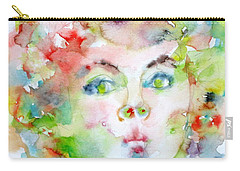 Shirley Temple - Watercolor Portrait.2 Carry-all Pouch by Fabrizio Cassetta