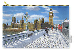 Snow On Westminster Bridge Carry-all Pouch by Richard Harpum