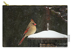 Snowy Cardinal Carry-all Pouch by Benanne Stiens