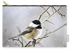 Snowy Chickadee Bird Carry-all Pouch by Christina Rollo