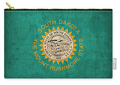 South Dakota State Flag Art On Worn Canvas Carry-all Pouch by Design Turnpike
