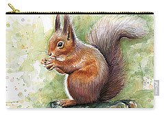 Squirrel Watercolor Art Carry-all Pouch by Olga Shvartsur