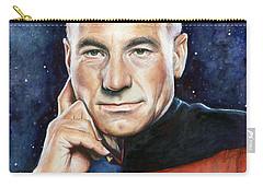 Captain Picard Portrait Carry-all Pouch by Olga Shvartsur
