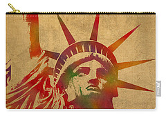 Statue Of Liberty Watercolor Portrait No 2 Carry-all Pouch by Design Turnpike